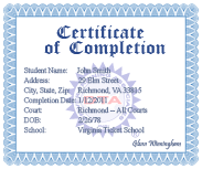 Online ADI course completion certificate